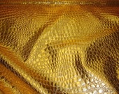 "54"" Wide Gold Crocodile upholstery faux vinyl fabric per yard"