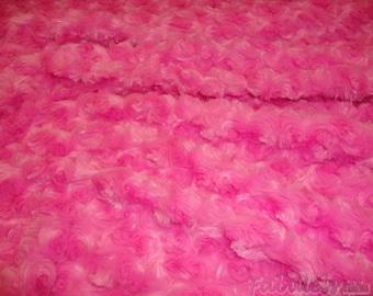 Hot Pink Rose Bud Minky fabric per yard