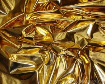 "Gold Metallic Spandex Lycra fabric 60"" by the yard"