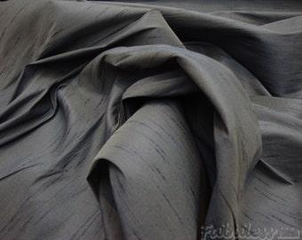 Charcoal Shantung Dupioni Faux Silk fabric per yard