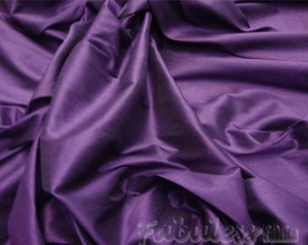 Plum Shantung Dupioni Faux Silk fabric per yard