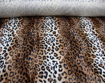Velboa upholstery Leopard Brown and White Velboa Fabric Per yard