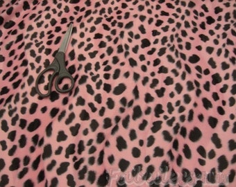 Velboa upholstery Dalmatian Pink Black Spots Velboa Fabric per yard