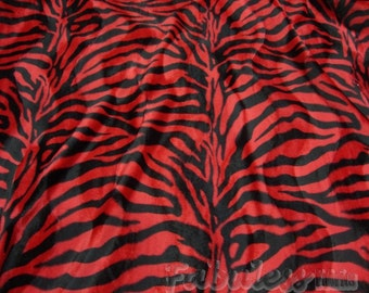 Velboa upholstery Zebra Red and Black Velboa Fabric per yard