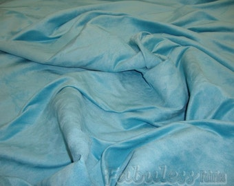 "Aqua Polyester micro faux suede upholstery fabric by the yard 60"" Wide"
