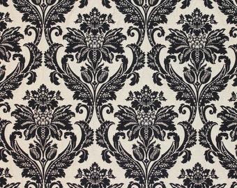 10 Yards Black Jacquard Damask Floral upholstery fabric
