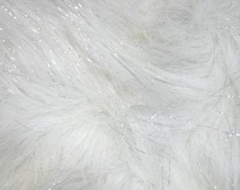 White Sparkle Fur Shag fabric per yard