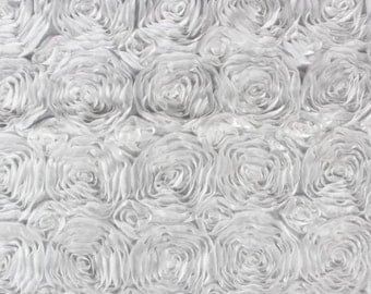 "50 yards White Rosette Satin fabric 54"" wide"
