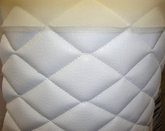 """Vinyl Upholstery White Quilted Vinyl fabric with 3/8"""" Foam Backing fabric by the yard 54"""" Wide headboard event auto"""