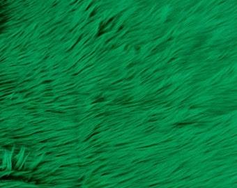 "Fur Faux fake Kelly Green shaggy faux fur  fabric sold per yard 60"" Wide"