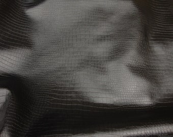 Alligator Black color upholstery Leather Vinyl fabric per yard