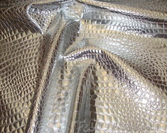 "Silver Crocodile upholstery faux leather vinyl fabric by the yard 54"" Wide"