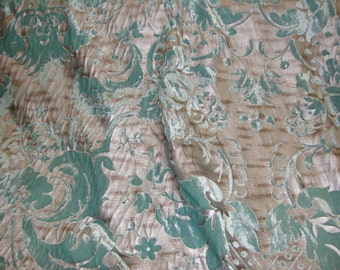 "Tiffany  Damask burnout  velvet silver background 56"" drapery fabric per yard"