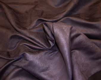 "Aubergine Polyester micro faux suede upholstery fabric by the yard 60"" Wide"