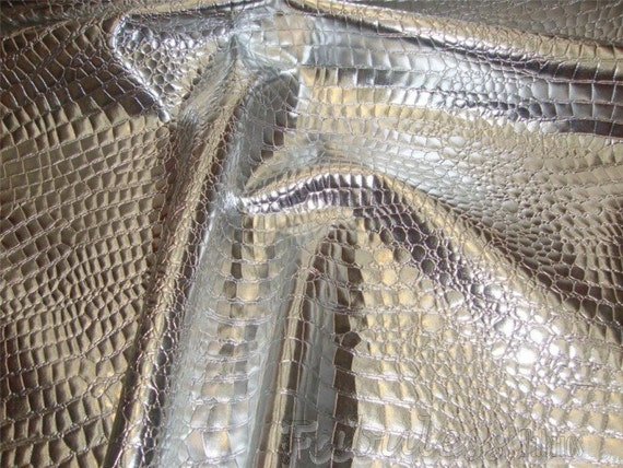 """Silver Crocodile upholstery faux leather vinyl fabric by the yard 54"""" Wide"""