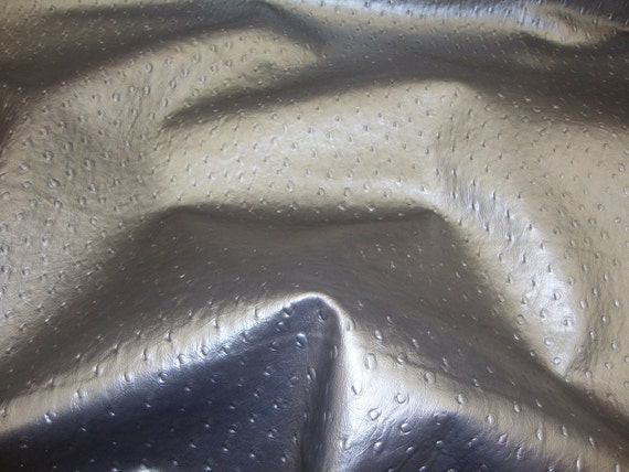 """Vinyl Faux Leather Silver meatllic shinny Ostrich  Upholstery fabric per yard 56"""" Wide"""