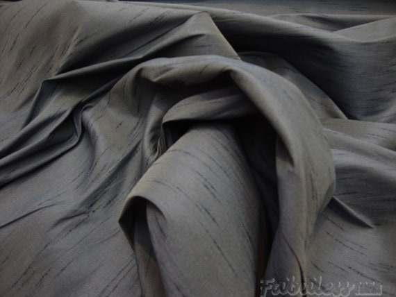 Charcoal   Shantung Dupioni Faux Silk fabric per yard