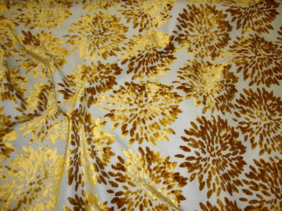 Gold Burn Out Floral Burst Pattern Upholstery and Drapery fabric per yard
