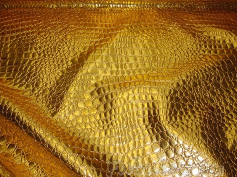 54 Wide Gold Crocodile Upholstery Faux Vinyl Fabric Per