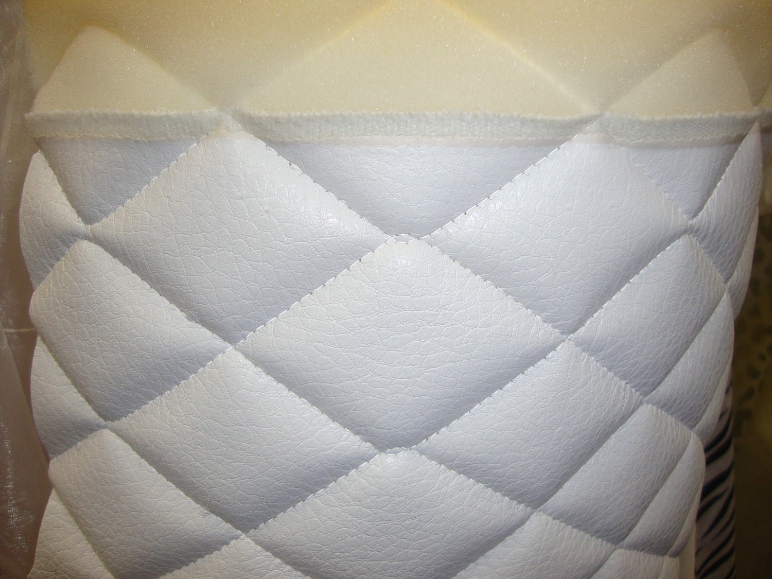 Vinyl Upholstery White Quilted Vinyl Fabric With 3 8