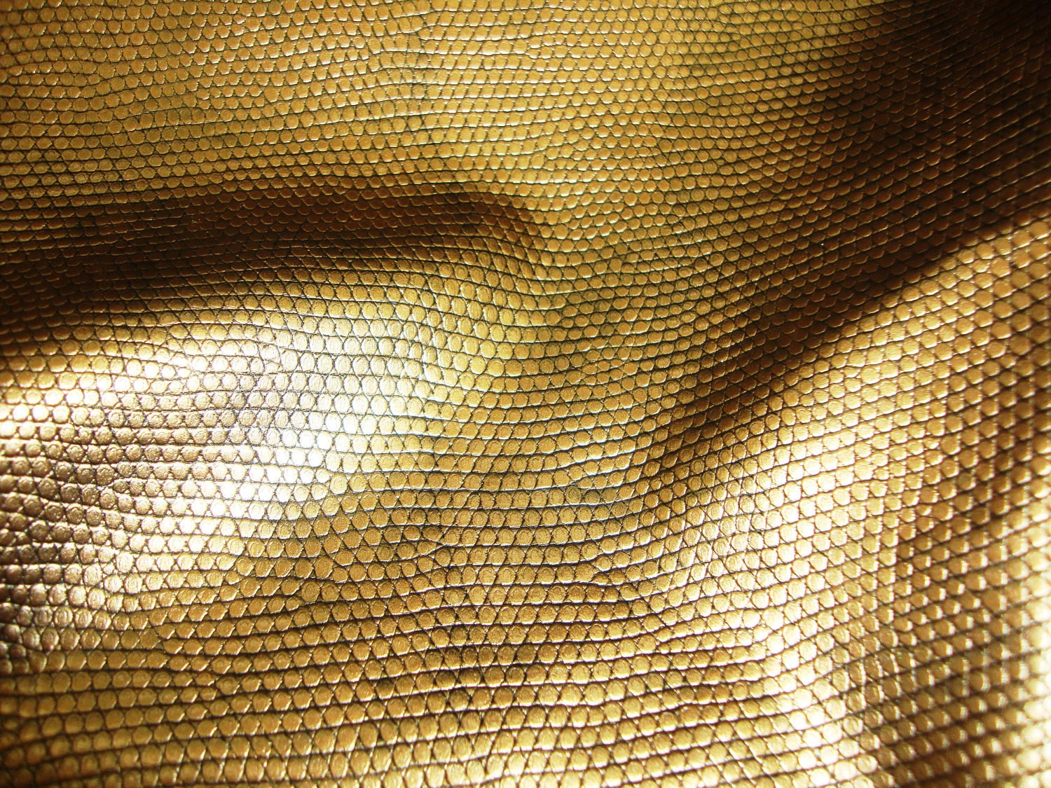 Gold Snake Embossed Vinyl Upholstery Fabric By The Yard