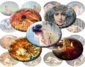 Digital Collage sheet - 30x40mm oval horizontal printable Art Nouveau, fall leaves pre raphaelite download DCSWH001