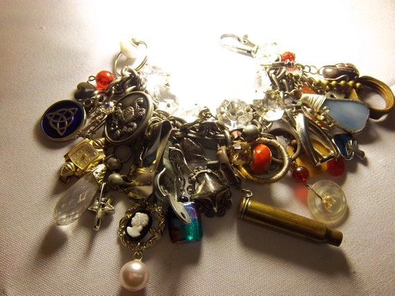 The Treasure Hunt, Avant Garde Gypsy Pirate Cluster Drama Bracelet AND Conversion Necklace, Vintage