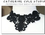 venise lace yoke applique trims 1pce.black wedding lingerie bridal lace trims venise lace trimmings venice applique by Catherine Cole Studio