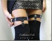black single grip leg Garters, ROCKER, Hipster, Punk,  steampunk, gothic, boho sexy garter for thigh high stockings, gothic wedding | G1