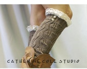 RESERVED Lace  leg warmers TAN  cluny lace 2 tortoise buttons womens leaf knit pattern ith all boots by Catherine Cole Studio