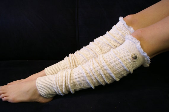 Ivory cotton cable knit lace leg warmers metal button womens Catherine Cole Studio MADE IN USA boot socks knee socks boot toppers