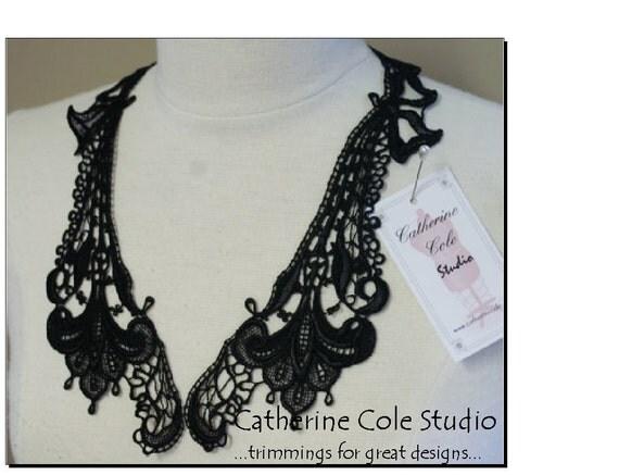 Black lace  noir  venise lace gothic applique 1 pr.  for costume pendant  jewelry couture lingerie   trim clothing  by Catherine Cole Studio