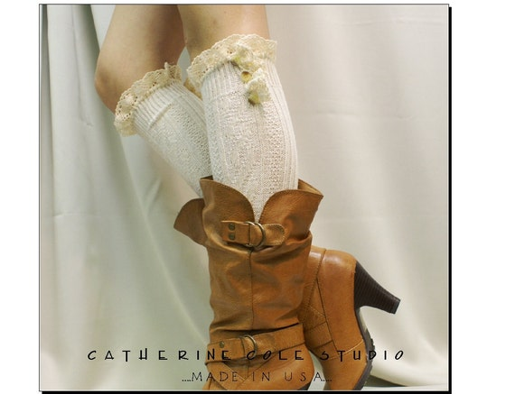Ruffles and Lace - Ivory ruffled lace w triple buttons - Catherine Cole Studio  womens knee socks Made in usa (BKS3B)