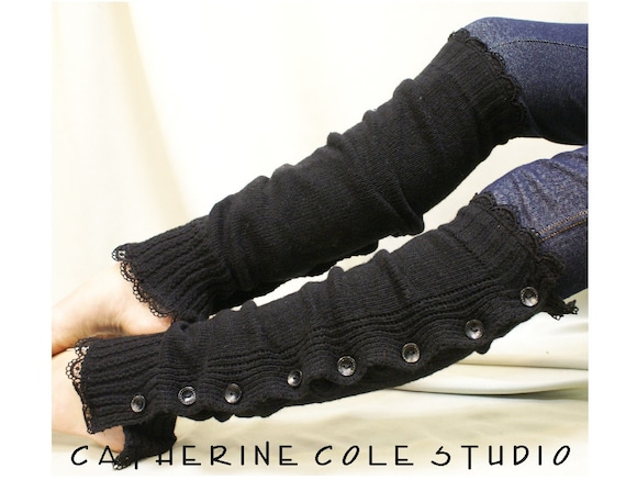 Button down venise black  lace edged leg warmers for women great with or without boots by Catherine Cole Studio lace legwarmers leg warmers