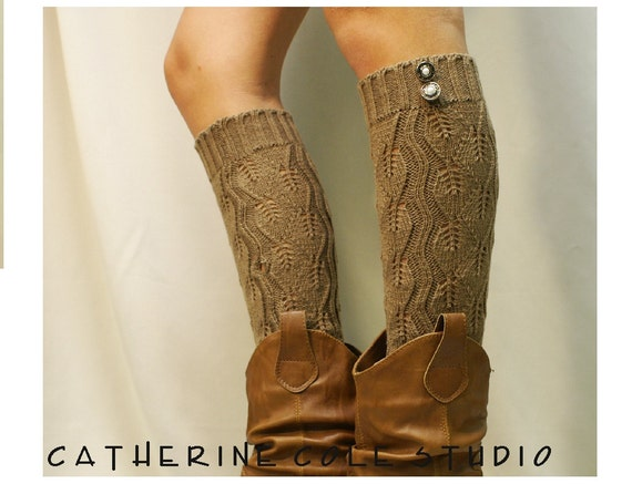 leg warmers Open crochet knit tan / womens leaf knit pattern  great with cowboy boots by Catherine Cole Studio legwarmers open work