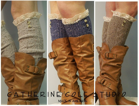 Brown Nordic Lace Boot Sock -Something special for your tall boots tweed cable knit long over the knee socks w/ 2 buttons, cotton lace