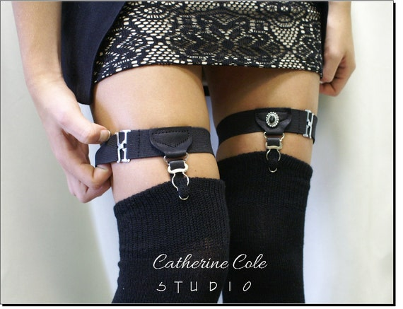 Sock Garters Thigh high Garters / Catherine Cole / Made in USA steampunk garters A timeless vintage menswear style Catherine Cole