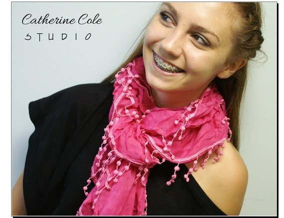 SALE  pom pon fringe trimmed scarf / a whimsical pretty pretty scarves for summer / 3 color /women by Catherine Cole Studio