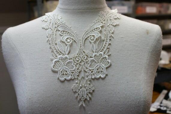 1pce venise lace yoke applique trims WHITE  wedding lingerie bridal lace trims venise lace Catherine Cole Studio
