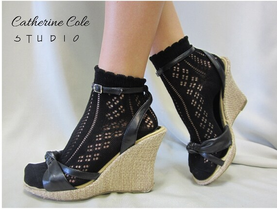 """Lace socks for heels Baby doll, 80""""s inspired retro black crochet lace socks lightweight, pretty for flats or heels catherine cole studio"""