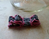 Pink and Zebra Ribbon Bow Hair Clip