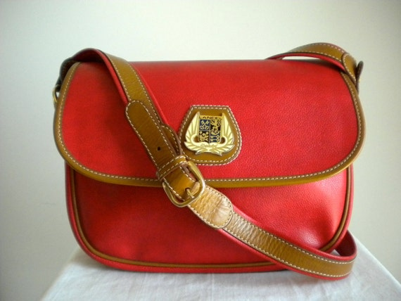 Vintage Lancel Red All Weather Canvas and Leather Bag Made in Italy