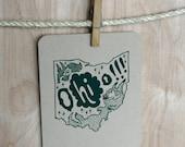 Screenprinted O-HI-o (Ohio) Postcard
