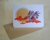 "Cute flying creature ""YAY"" card"