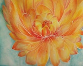 Mums for Mom - Orange Chrysanthemum Hand-painted on Silk Scarf