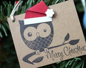 8 Large Merry Christmas Owl Tags with Santa Hats