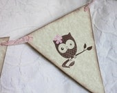 5 Piece Baby Girl Owl Pennant Banner - Baby Shower