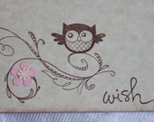 Set of 12 Wish Cards Baby Owl with Pink Flower- Baby Shower or Bridal Shower
