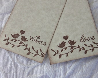 Set of 12 Wish Tree Tags - Love Birds On A Branch - Wedding or  Bridal Shower