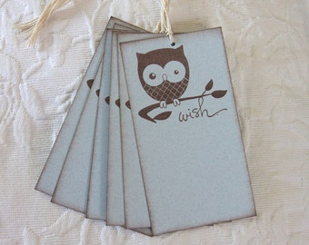 Set of 12 Blue Baby Boy Owl Wish Tags